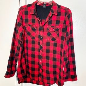 Forever 21 Red Black Buffalo Check Shirt M.